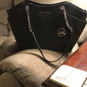 MK black leather Saffiano leather tote.